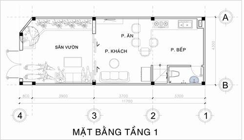 Tầng một chừa ra khoảng diện tích 17m2 để làm sân vườn, phần còn lại dành cho các không gian phòng khách, bếp.
