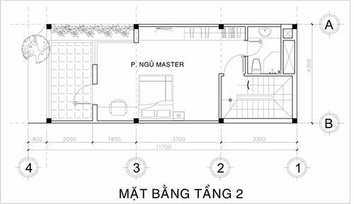 Tầng 2 là không gian cho phòng ngủ chính và một ban công rộng.