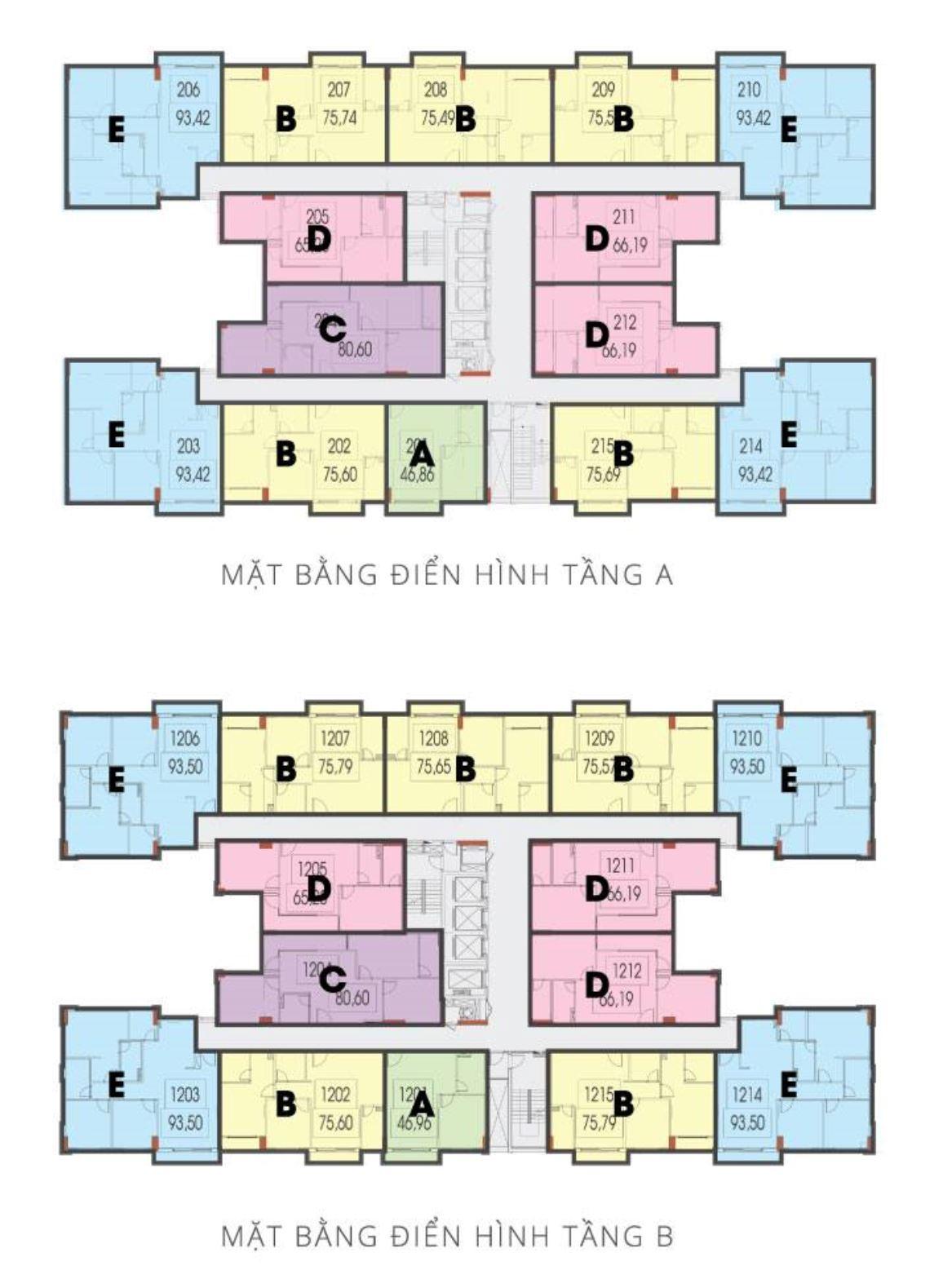 Mặt bằng tầng A và B CT4 VCN Phước Hải